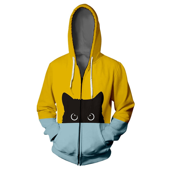 Peek a Boo Unisex Bi Color Cat Hoodie