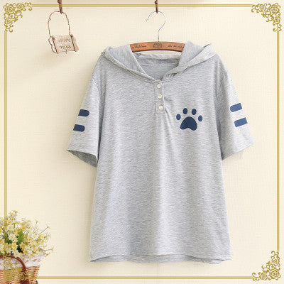 Cat Pattern Hooded T-Shirt