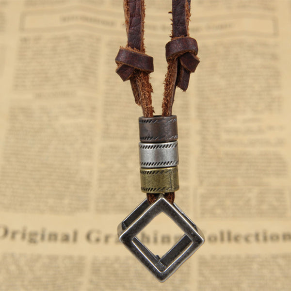 Adjustable Leather Cube Pendant Charm Necklace