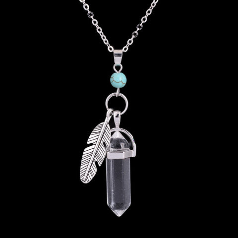 Hexagonal Healing Natural Stone Feather Charm Necklace