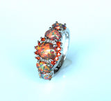 Orange Rainbow Fire Opal Ring