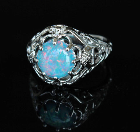 Silver Blue Fire Opal Ring