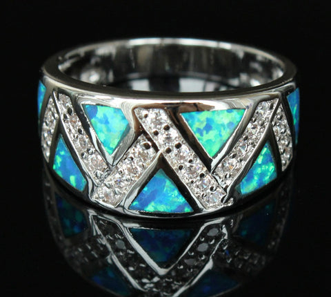 Geometry Blue Fire Opal Ring