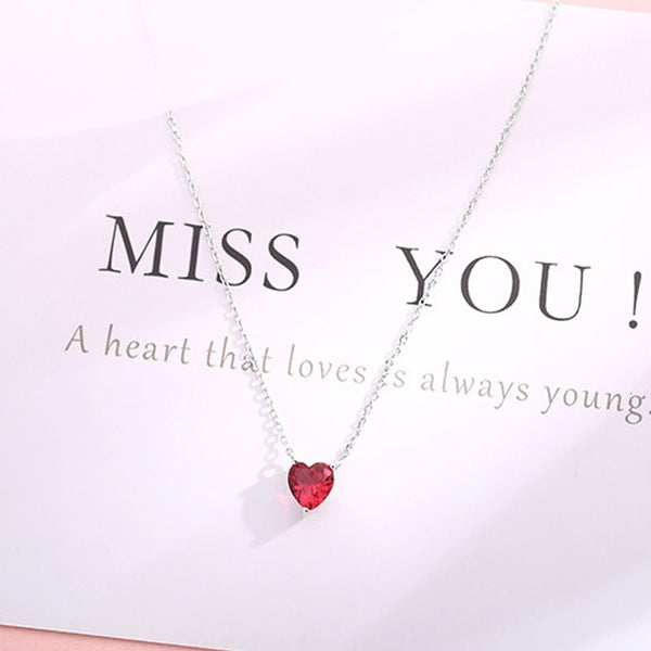 Miss You Red Heart Necklace