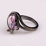 Black Gun Plated Cubic Zirconia Ring