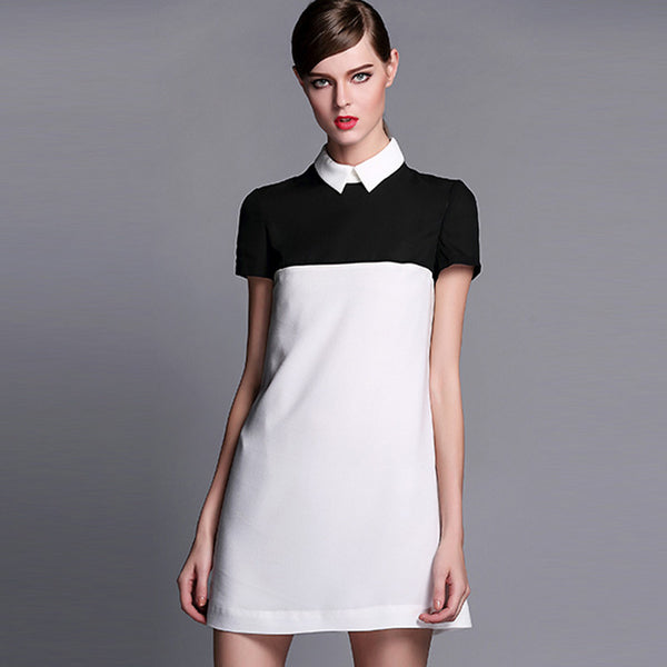Casual Slim Turn-down Collar Short Sleeve Dresses