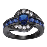 Black Gun Plated Blue CZ Ring