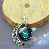 Zodiac Statement Glass Cabochon Necklace