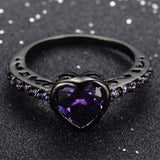 Purple Amethyst Heart Gem Ring