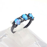 Royal Blue Black Gold Plated Opal Ring