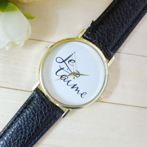 Leather Je T'aime Analog Quartz Wristwatch