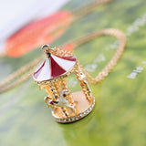 Gold Carousel Chain Pendant Necklace