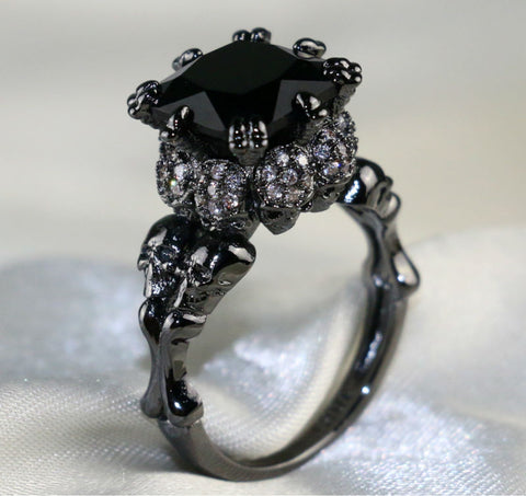Agate Zircon Rhodium Plated Skull Ring