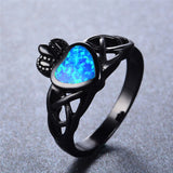 Blue Heart Fire Opal Black Gold Filled Ring