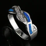 Platinum & Silver Plated Blue Fire Opal Ring