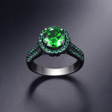 Gold Plated Emerald Crystal Zircon Ring
