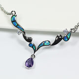Blue Sea Silver Opal Necklace