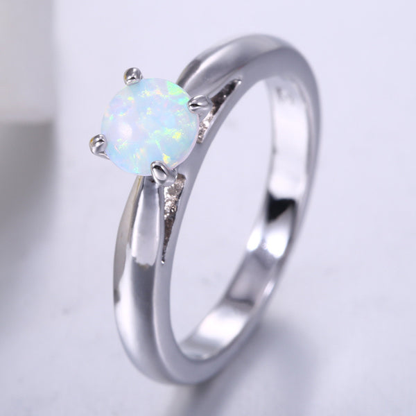 Simple Round White Fire Opal Ring