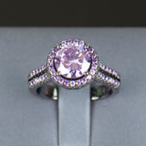 Black Gold Filled Purple Amethyst Crystal Zircon Ring