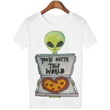 18 Style Smoking Alien Print Funny Casual Tees