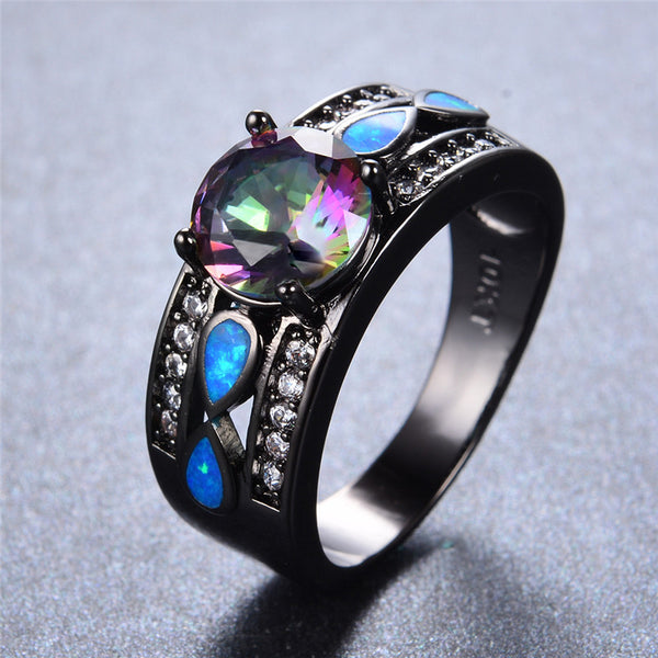 Mystic Rainbow Zircon Blue Fire Opal Ring