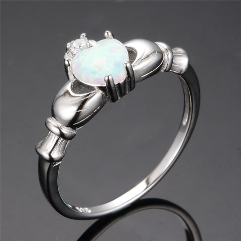 Silver White Heart Opal Ring