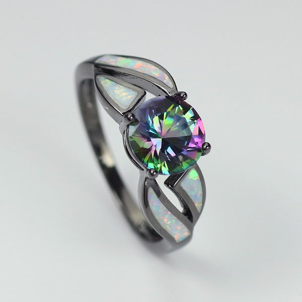 Rainbow Cubic Zirconia Fire Opal Ring