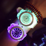 Silicone Diamond Rhinestone LED Luminous Watches