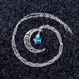 Hollow Glass Star Moon Necklace