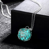 Luminous Silver Pendant Necklace Fluorescent Stone
