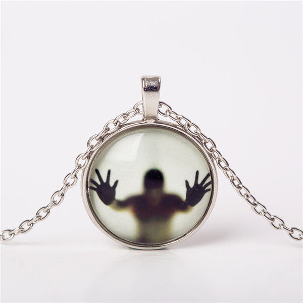 Shadow Men Glow In Dark Glass Cabochon Necklace