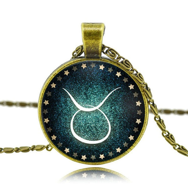 Glass Zodiac Constellation Cabochon Necklace