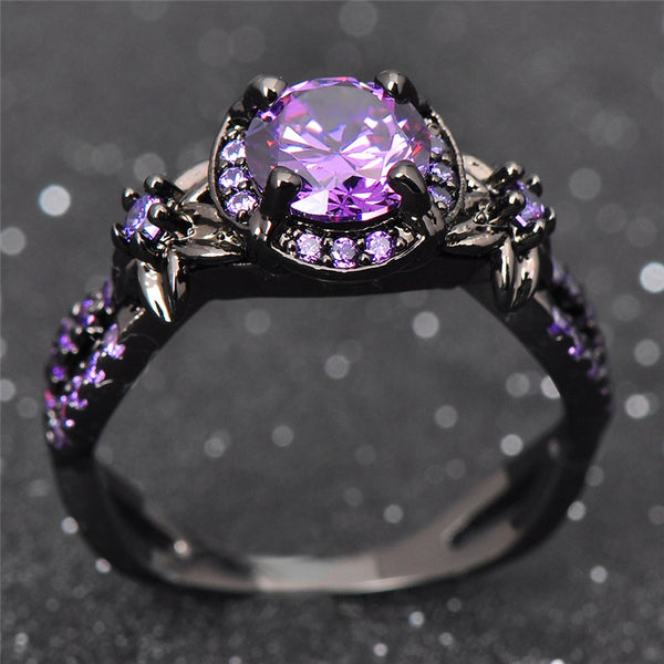 Black Gold Filled Purple Amethyst Ring Ess6 Fashion