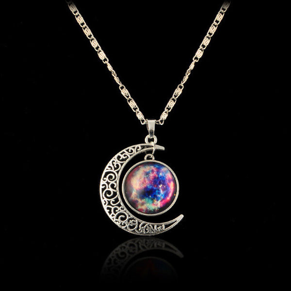 Glass Melody Stars Galaxy Cabochon Necklace