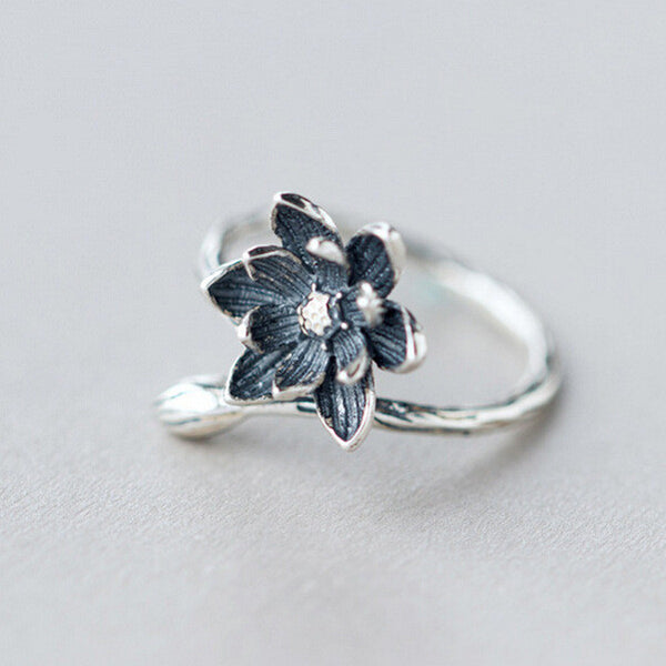 925 Sterling Silver Adjustable Lotus Flower Ring