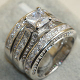 Princess Cut 925 Sterling Silver White Clear 5A CZ Stone Ring
