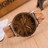 Men Wooden Quartz Leather Strap Casual Watches