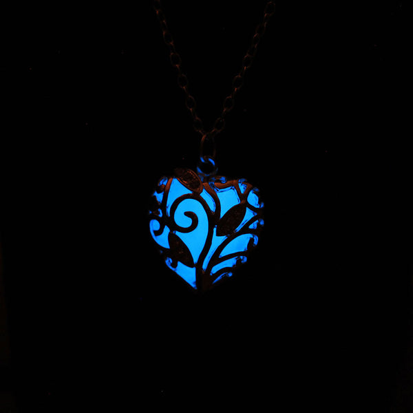 Glow In The Dark Silver Heart Necklace
