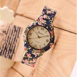 Luxury Quartz Flowers Printed Geneva Watch For Women
