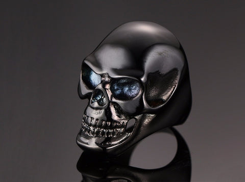 Stainless Steel Black and Gold Skull Rings