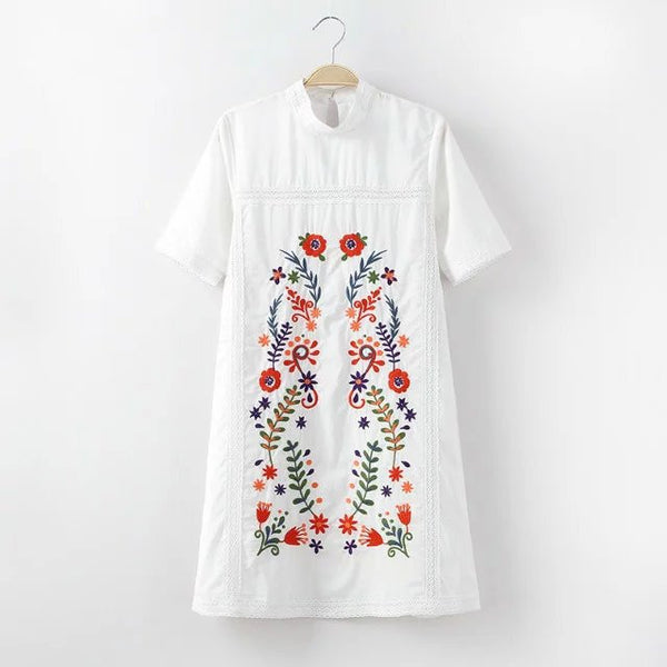 European Flowers Embroidered Stand Collar White Dress