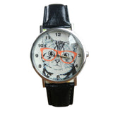 Wearing Glasses Cat Watch Fashion PU Leather For Women
