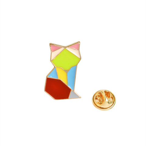 Original Origami Fox Badge Pin