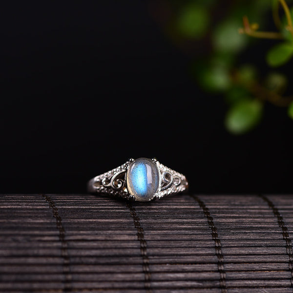 Sterling Silver Natural Rainbow Moonstone Ring