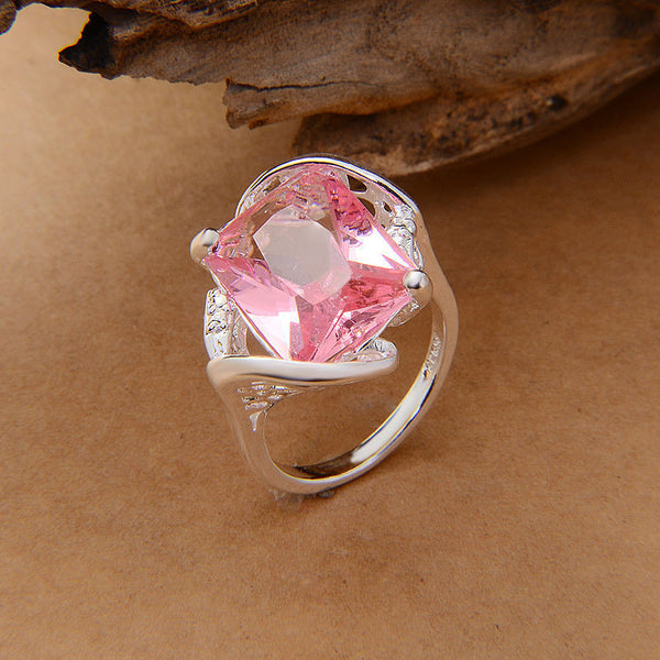 Silver Plated Pink Simple Casual Ring