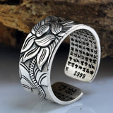 925 Sterling Silver Adjustable Lotus Ring with the Heart Sutra Inside