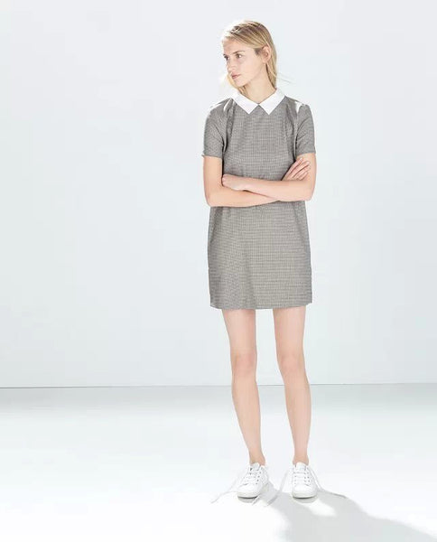 White Collar Grey Houndstooth Print Casual Dress