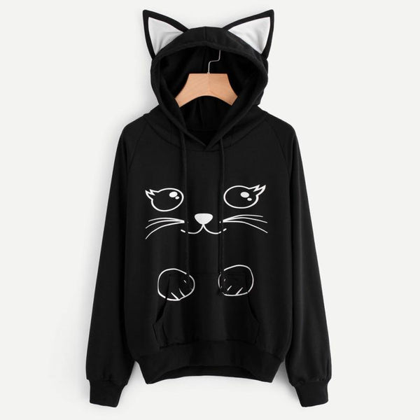 White Cat Ears Long Sleeve Hoodie