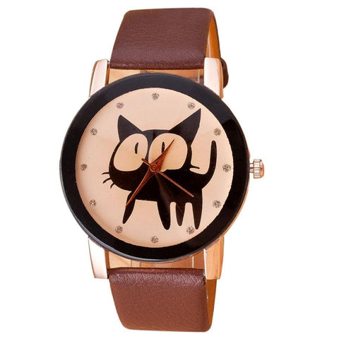 Black PU Leather Cat Watch