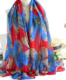 Floral Design Cotton Voile Long Scarf